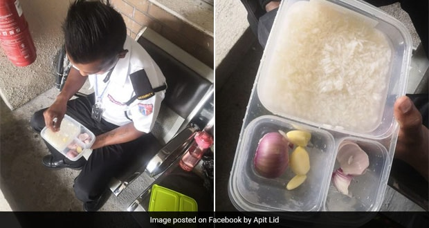 Heartbreaking Picture Of Security Guard Eating Rice With Just Onion And Garlic Moves People