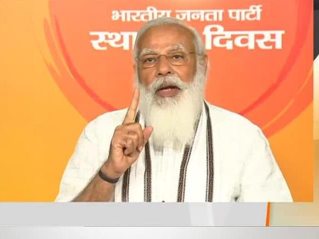 """Video : PM Says """"False Narratives"""" Aimed At Creating Political Instability In Address To BJP Workers"""