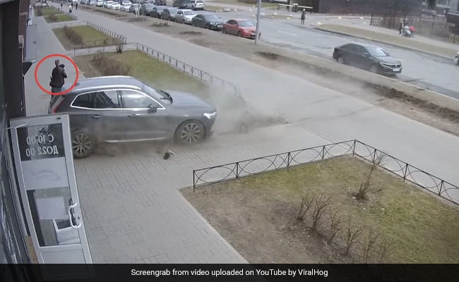 Caught On Camera: Dad's Quick Reflexes Save Son From Out-Of-Control Car