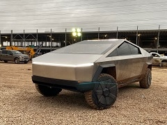Tesla CEO Elon Musk Visits Under Construction Texas Gigafactory In A Cybertruck