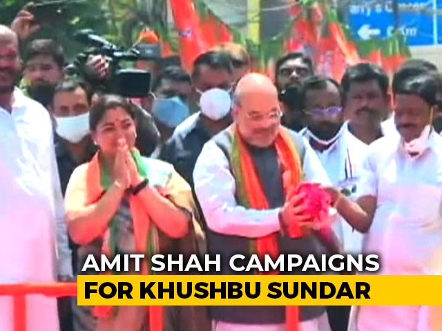 Video : Dynastic Politics Of Congress-DMK Must End: Amit Shah Campaigns For Khushbu Sundar
