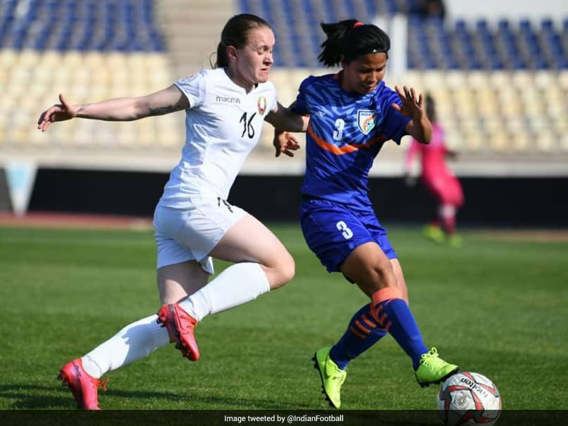 Despite a late goal by Sangita Basfore, the Indian women's football team crashed to a 1-2 defeat against Belarus.