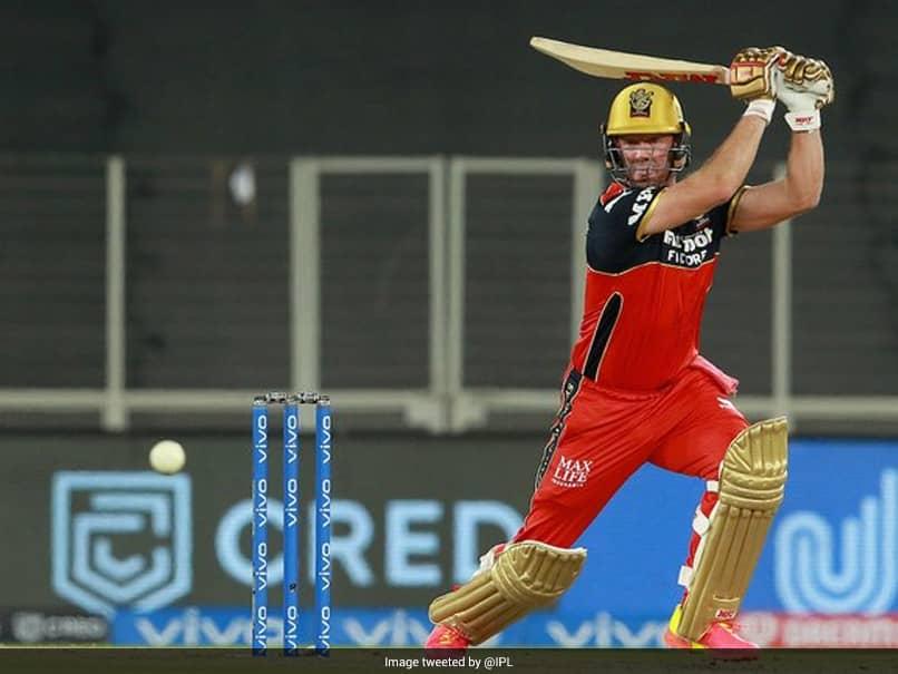 DC vs RCB: AB de Villiers hits a shot during Match 22 of IPL 2021.© Twitter