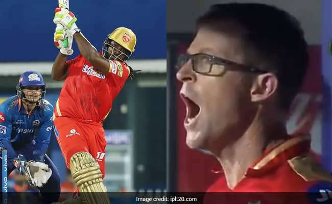 PBKS vs MI Jonty Rhodes jumped by seeing Chris Gayles Monstrous Six gave such a reaction Watch Video
