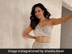 Shweta Tiwari Takes A Shimmering Turn In A Sparkling Silver <i>Lehenga</i>