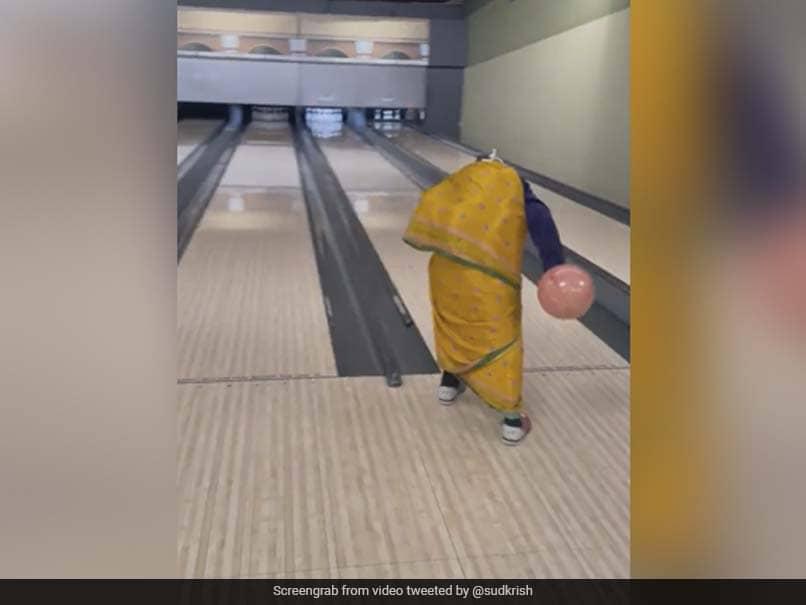 "Watch: ""Grandma"" In Saree Bowls A Strike In Viral Video, Twitter Loves It"