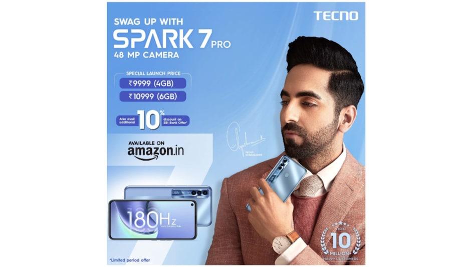 48MP कैमरा के साथ Tecno Spark 7 Pro भारत में लॉन्च, कीमत 10 हज़ार रुपये से भी है कम
