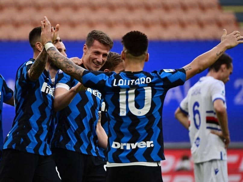 Serie A: Newly-crowned champions Inter Milan celebrated their title win with a 5-1 victory over Sampdoria.