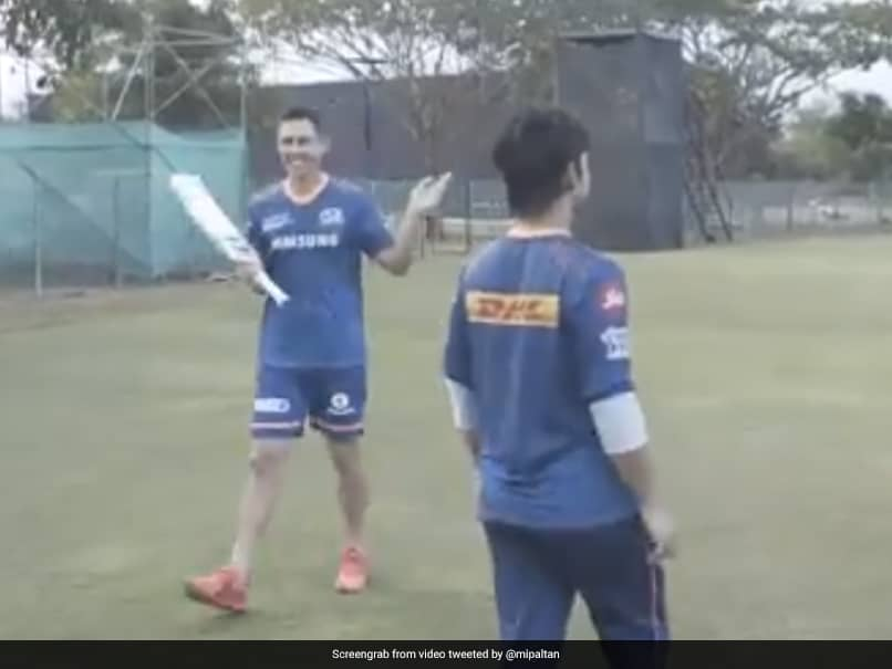 """Watch: Mumbai Indians Trent Boult, Ishan Kishan Take On Each Other In """"Cross The Bottle"""" Challenge"""