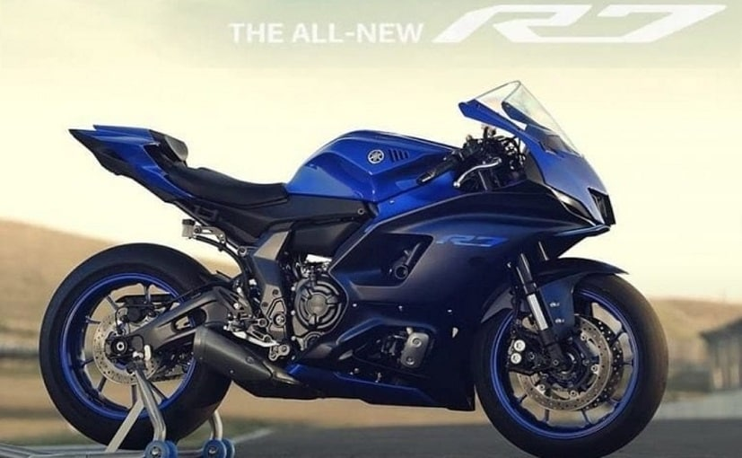 Yamaha's signature blue color scheme can be seen on the motorcycle.