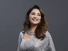 "COVID Vaccinated Madhuri Dixit Is ""Back On Set"" In A Shimmery Silver Saree"