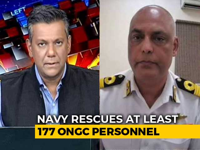"""Video : """"Conditions At Sea Continue To Be Challenging"""": Navy Officer On Barge Rescue"""