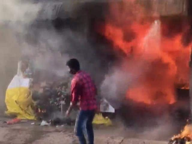 Video : Fire Engulfs 6 Shops In Andhra's Tirumala