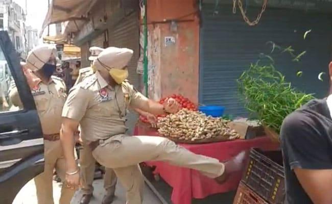 Punjab Cop Suspended For Kicking Street Vendor's Vegetable Basket