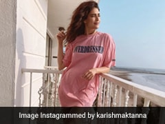 Karishma Tanna's Pink T-Shirt Dress Ups The Work From Home Comfy Style Game