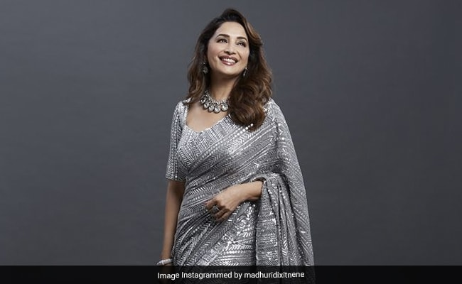 COVID Vaccinated Madhuri Dixit Is 'Back On Set' In A Shimmery Silver Saree