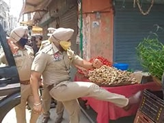 Punjab Cop Suspended For Kicking Street Vendor's Vegetable Basket