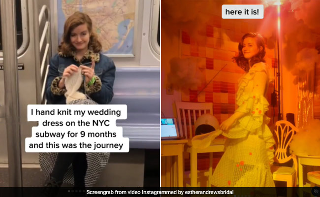 A Bride Spent 9 Months Knitting Her Own Wedding Dress And Internet Loves It