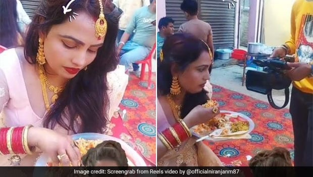 Woman Caught Eating Food With Hands At Wedding - Video Will Leave You In Splits