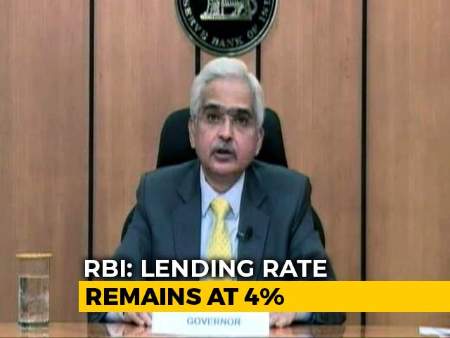 Video : RBI Keeps Lending Rate At 4%, Projects Real GDP Growth This Year At 9.5%