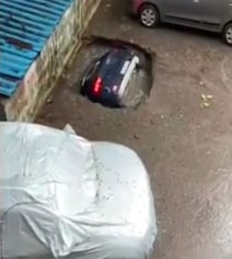 Video: Car Swallowed By Sinkhole At Mumbai Parking Lot After Rain