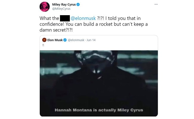 """, Elon Musk Revealed Miley Cyrus' """"Secret"""" Identity And Now She's Mad At Him,"""