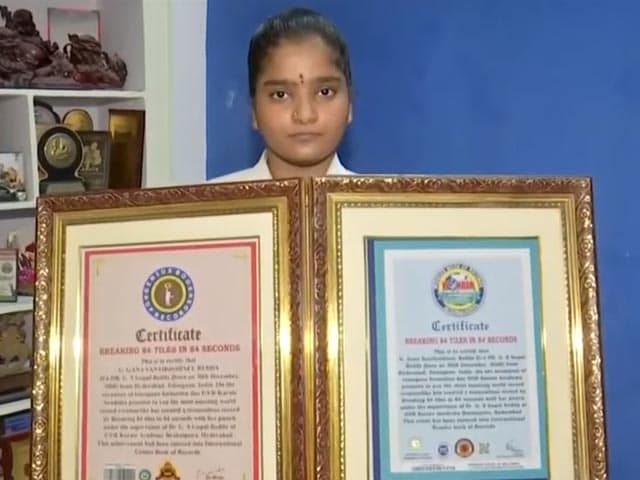 Video : Girl, 13, Sets World Record By Breaking 84 Tiles In 84 Seconds