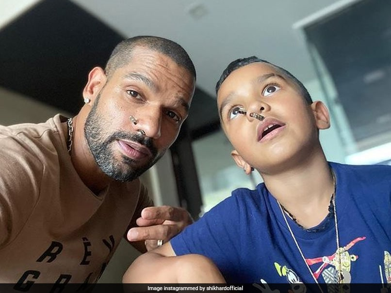 Shikhar Dhawans Son Zoraver Shows Off Abs To His Father During Virtual Call