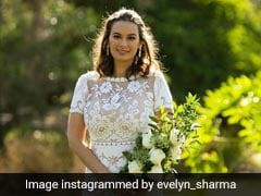 Evelyn Sharma Is A Stunning Bride In A Floral White Lace Wedding Gown To Marry Tushaan Bhindi
