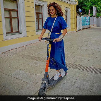 Taapsee Pannu Looks Breezy And Beautiful In Blue As She Scooters Through The Moscow Streets