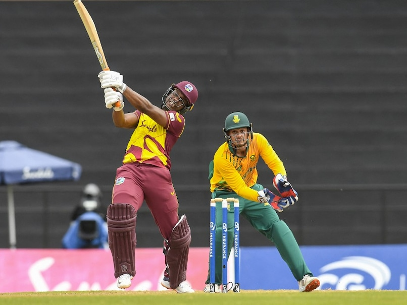 West Indies' Evin Lewis smashed 71 off just 35 deliveries with 7 sixes and 4 fours decorating a pyrotechnic innings.© AFP