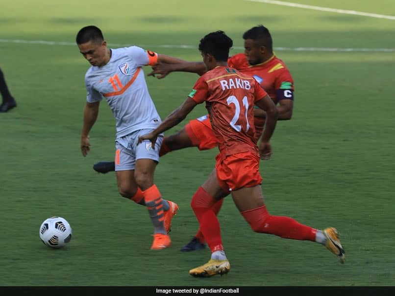 """India captain Sunil Chhetri brushed aside the talk of him surpassing Argentina great Lionel Messi in the list of international goal-scorers and said he will talk about his goals """"10 years later""""."""