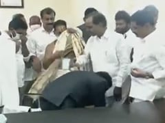 Citing Father's Day, Telangana Collector Touches Chief Minister's Feet