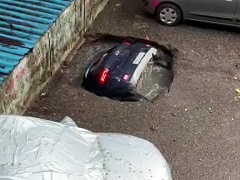 Watch: Sinkhole Swallows A Parked Car In Mumbai's Residential Complex