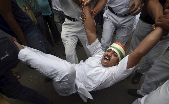 Congress Workers Arrested After Protests In Kolkata Over Pegasus Row