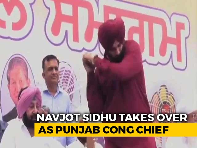 Video : Watch: Navjot Sidhu, At His Inauguration, Signals Arrival With This Shot