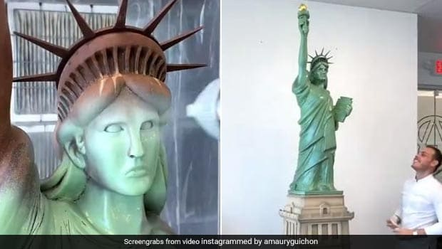 Pastry Chef Creates 7 Ft-Tall Chocolate Statue Of Liberty; Watch Amazing Video