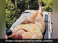 Mom-To-Be Evelyn Sharma Poses In A Yellow Swimsuit With Her Baby Bump On Display