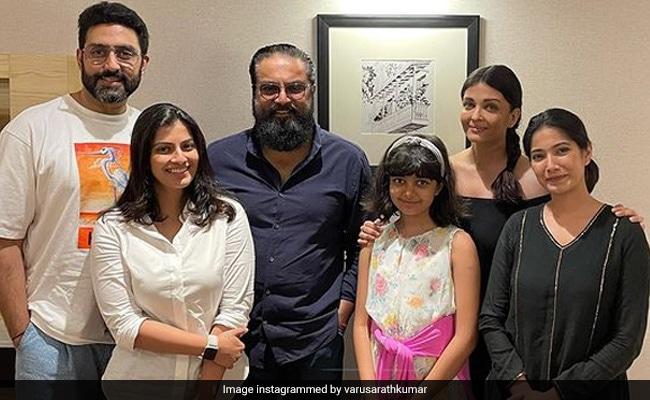 Abhishek, Aaradhya And Aishwarya Rai Bachchan Met R Sarathkumar's Family In Puducherry. See Pics