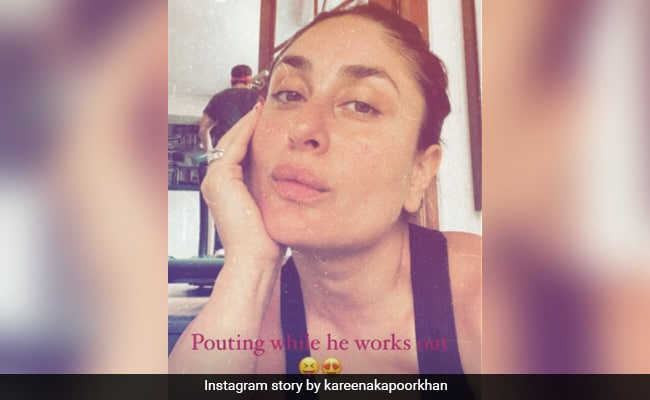 Spot Saif Ali Khan In This Pic Of Kareena Kapoor 'Pouting While He Works Out'