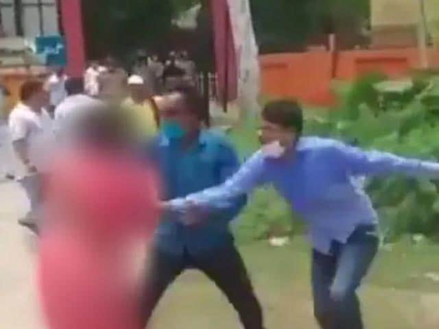 Video : On Camera, Woman's Sari Pulled By Rival Party Men Ahead Of UP Rural Polls