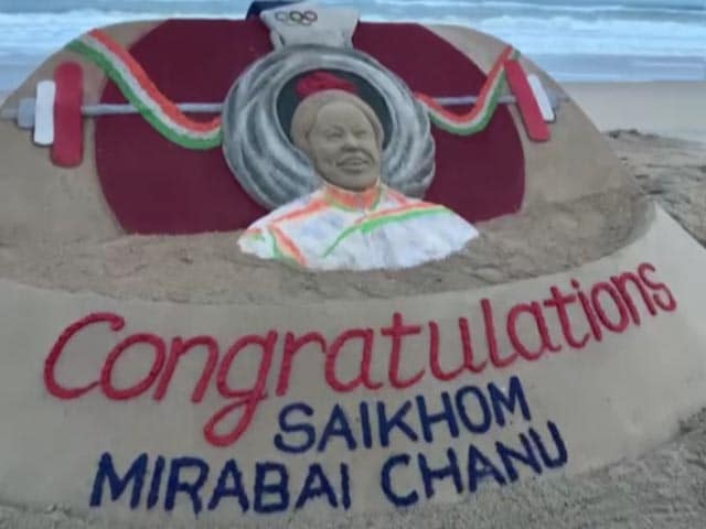 Video : Sand Art Tribute For Weightlifter Mirabai Chanu Who Won Silver At Tokyo Olympics