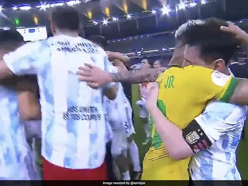 Watch: Lionel Messi Keeps Celebrating Teammates At Bay As He Consoles Neymar After Argentina Win Copa America