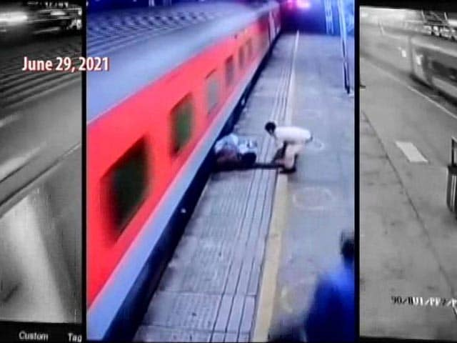 Video : Cop Rescues Passenger From Falling Under Train In Mumbai