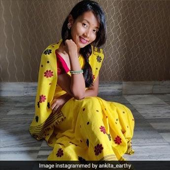 Only Ankita Konwar Can Strike A Yoga Pose In A Sunshine Yellow <i>Mekhela Chador Saree</i>