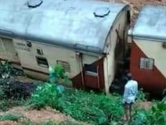 Video: Train Hit By Landslide After Massive Rain, Goes Off Tracks In Goa