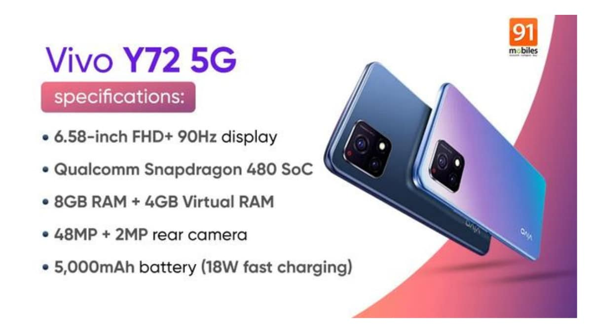 Best Mobile Vivo Y72 5G smartphone will launch on July 15 with 48MP camera and 90Hz display!