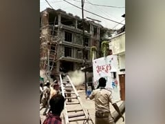 Watch: Ex-MP's Building Razed In UP, Rubble Falls On Driver, Rescued