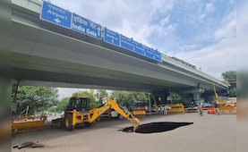 Huge Chunk Of Road Caves In Under Flyover In South Delhi, Stops Traffic