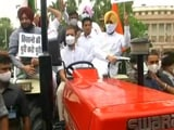 """Video : Rahul Gandhi Rides Tractor, Says """"Brought Farmers' Message To Parliament"""""""